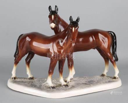 Large antique German ceramic sculpture group. Two