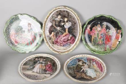 Five old German porcelain hand-painted presentation