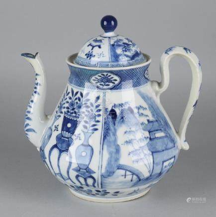 Large 19th century Chinese porcelain teapot with wings