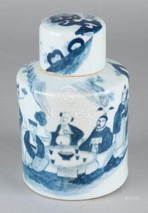 Old Chinese porcelain tea caddy with around figures