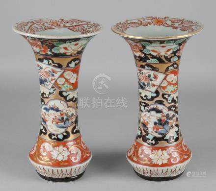 Two times 18th century Chinese Imari porcelain trumpet