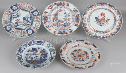 Five times 18th century Chinese porcelain Imari plates.