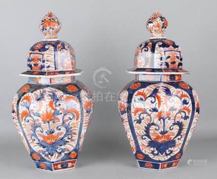 Two large 19th century Japanese six-sided Imari