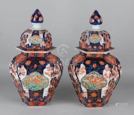 Two beautiful six-sided 19th century Imari porcelain