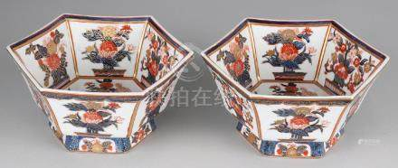 Two Imari porcelain six-sided bowls with floral decors.