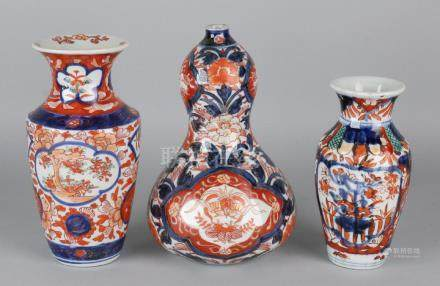 Three times 19th century Imari porcelain, floral + gold