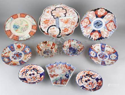 Ten times antique Japanese Imari porcelain. Consisting