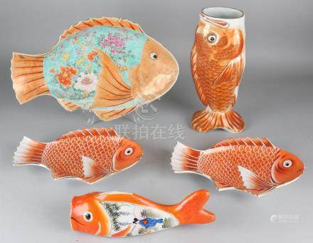 Five times Japanese antique Kutani porcelain with carp