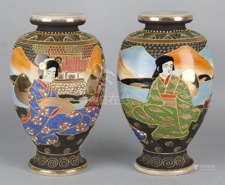 Two old Japanese Satsuma vases with gold decor and