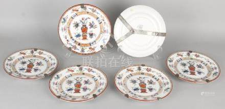 Six antique Societe Ceramique Maastricht plates with