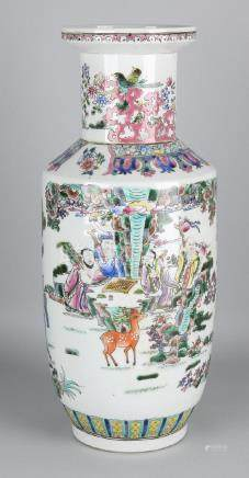 Large Chinese porcelain Family Rose collar vase with