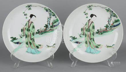 Two old Chinese porcelain Family Rose plates with