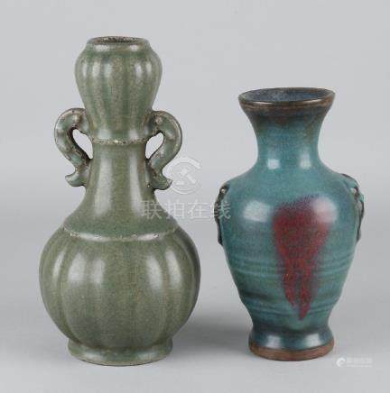 Two old glazed Chinese porcelain vases. Consisting of: