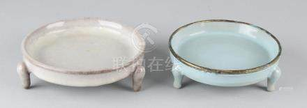 Two old Chinese porcelain water bowls with crackle