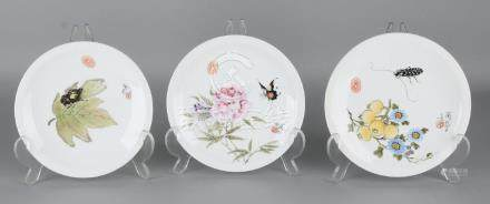 Three old Chinese porcelain plates. Floral + insects.