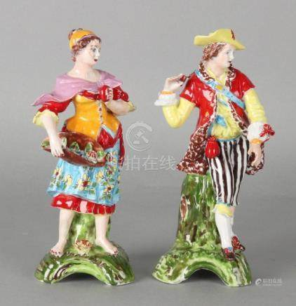 Two old German Sitzendorf porcelain figures. Hand