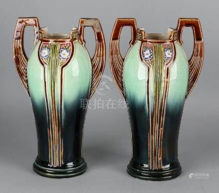 Two antique Jugendstil vases with floral decors. One