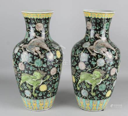Two large old Chinese porcelain family Noir dragons