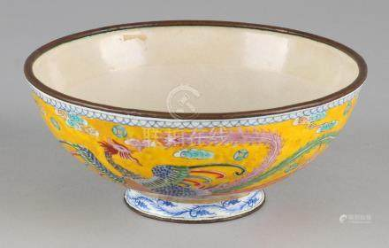 Old Chinese cloisonné painted bowl with dragon decor