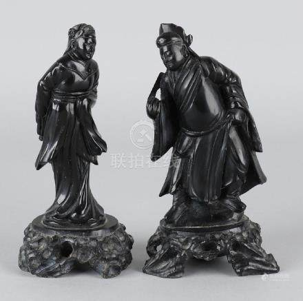 Two antique black lava stones Chinese figures. Circa