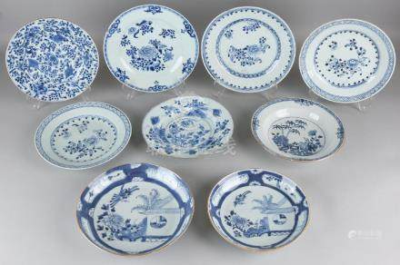 Nine times 18th century Chinese porcelain plates,