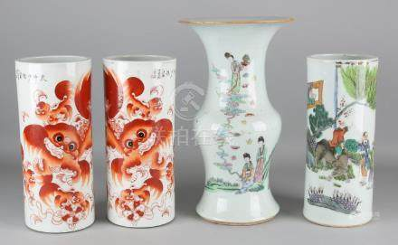 Four antique Chinese porcelain vases with figures,