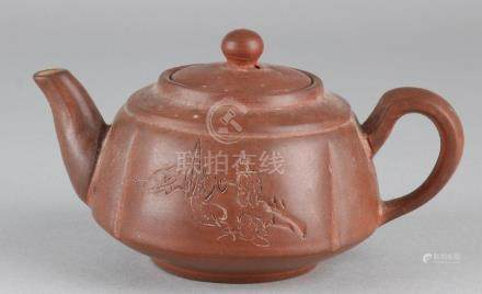 Old / antique Chinese Yixing teapot with zipped floral