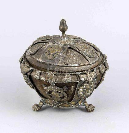 Old Oriental brass covered jar with medallions and