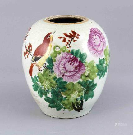 19th Century Chinese porcelain ginger jar without lid