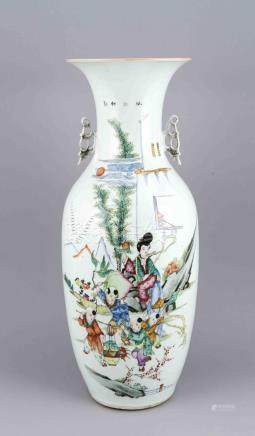 Antique large Chinese porcelain vase with text and