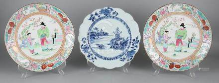 Three antique Chinese porcelain plates. Consisting of: