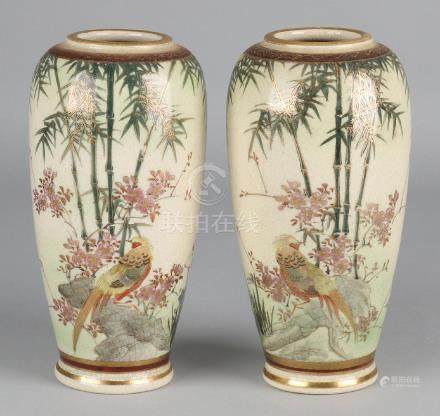 Two Japanese Satsuma vases with finely painted decors,