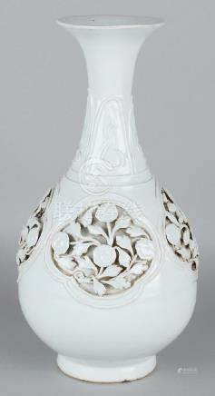 Old Chinese porcelain vase with white glaze and two
