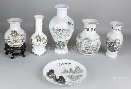 Six times old Chinese porcelain with landscapes and