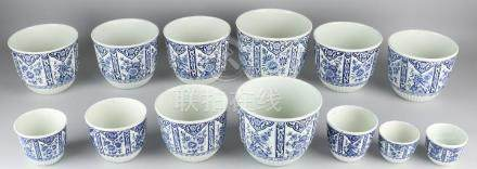 Twelve antique Petrus Regout Maastricht flowerpots with