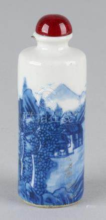 Old Chinese porcelain hand-painted snuffbottle with