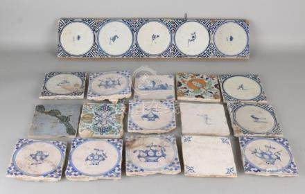 Lot of various antique Dutch wall tiles. 17th - 18th