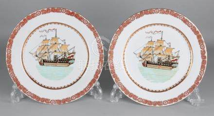 Two Chinese porcelain painted plates with three-master