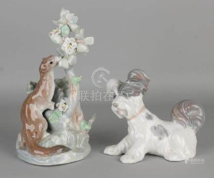 Two Spanish Lladro figures. Consisting of: Terrier and