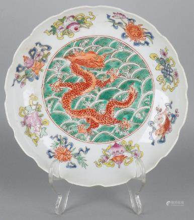 Old / antique Chinese porcelain plate with dragon, carp