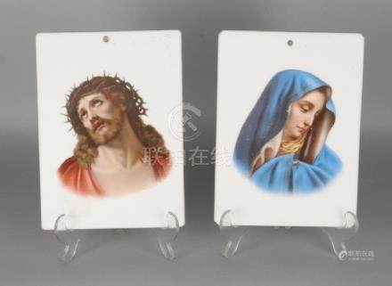 Two 19th century porcelain plaques with religious