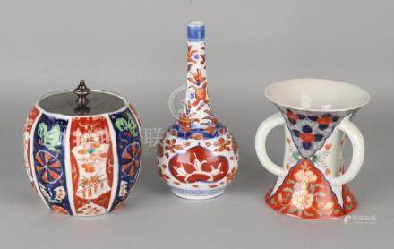 Three times antique Japanese Imari porcelain.