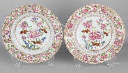 Two 19th century Chinese porcelain Family Rose plates
