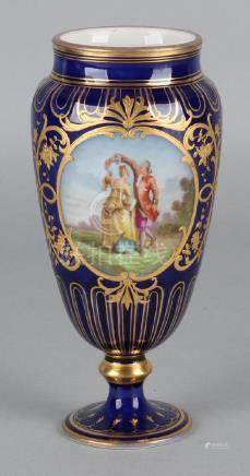 German cobalt-colored porcelain vase with gold decor +