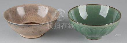 Two old / antique Chinese celadon bowls with crackle