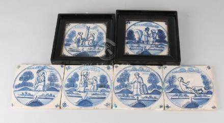 Six 19th century Dutch wall tiles with religious