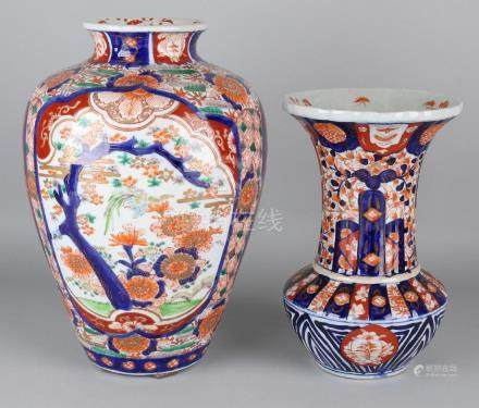 Two large 19th century Japanese Imari porcelain vases