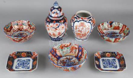 Seven times 19th century Imari porcelain with floral