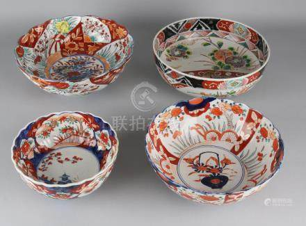 Four times 19th century Japanese Imari porcelain bowls