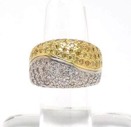2-TONE 18k GOLD & 2.3ctw DIAMONDS WIDE WAVE BAND RING